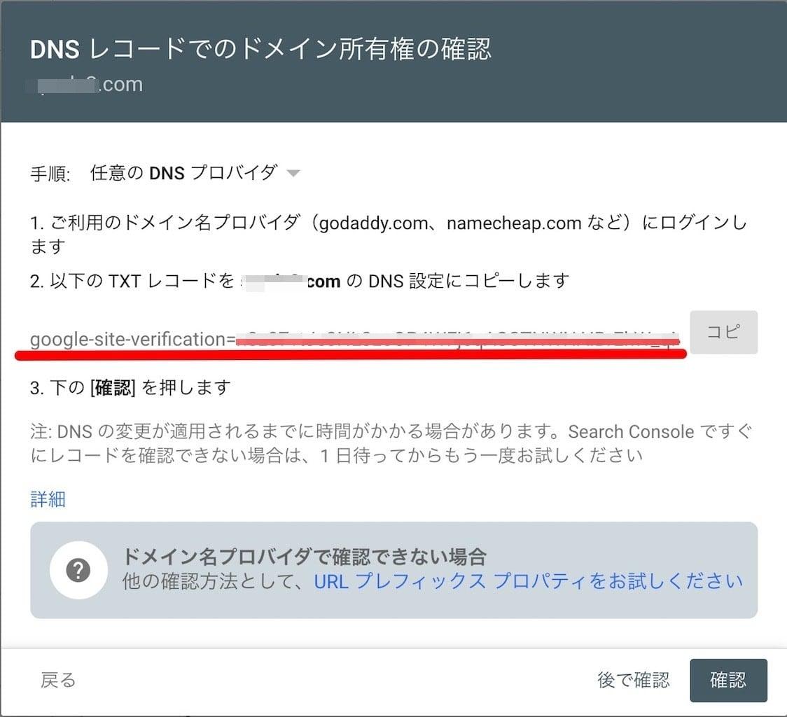 DNSレコードのドメイン所有権の確認
